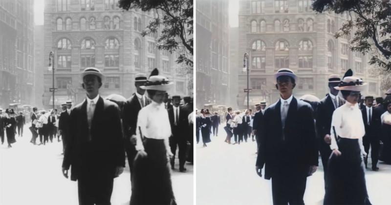 Nowy Jork z 1911 roku na kolorowym wideo w 4K