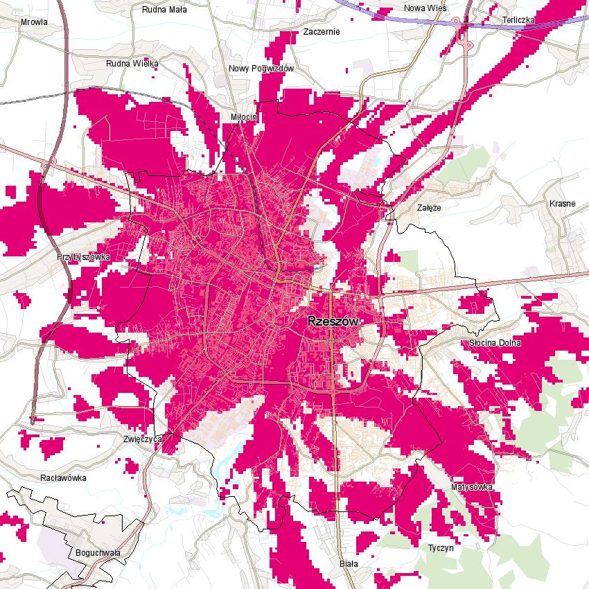 T-Mobile mapa zasięgu Rzeszów