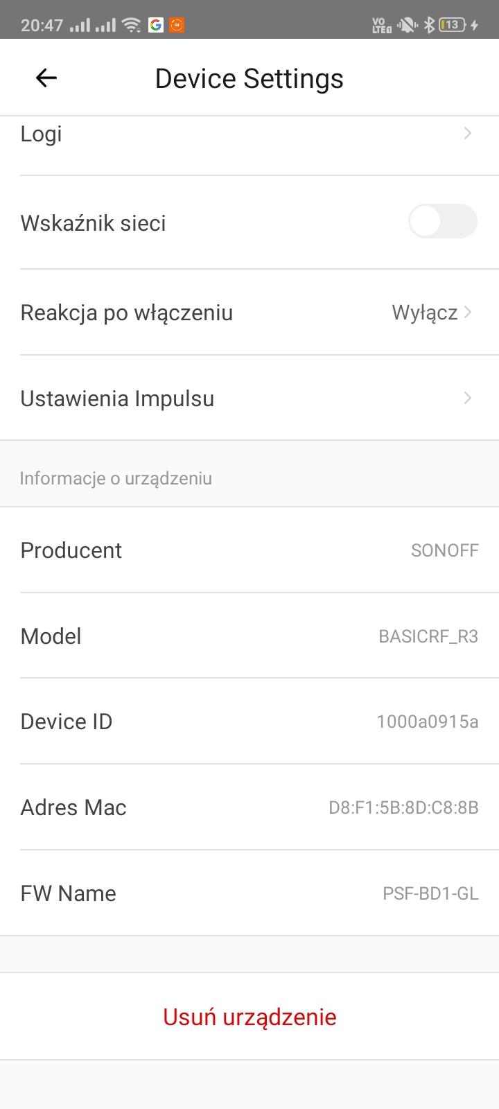 Funkcje w aplikacji eWeLink dla Sonoff Basic RF R3