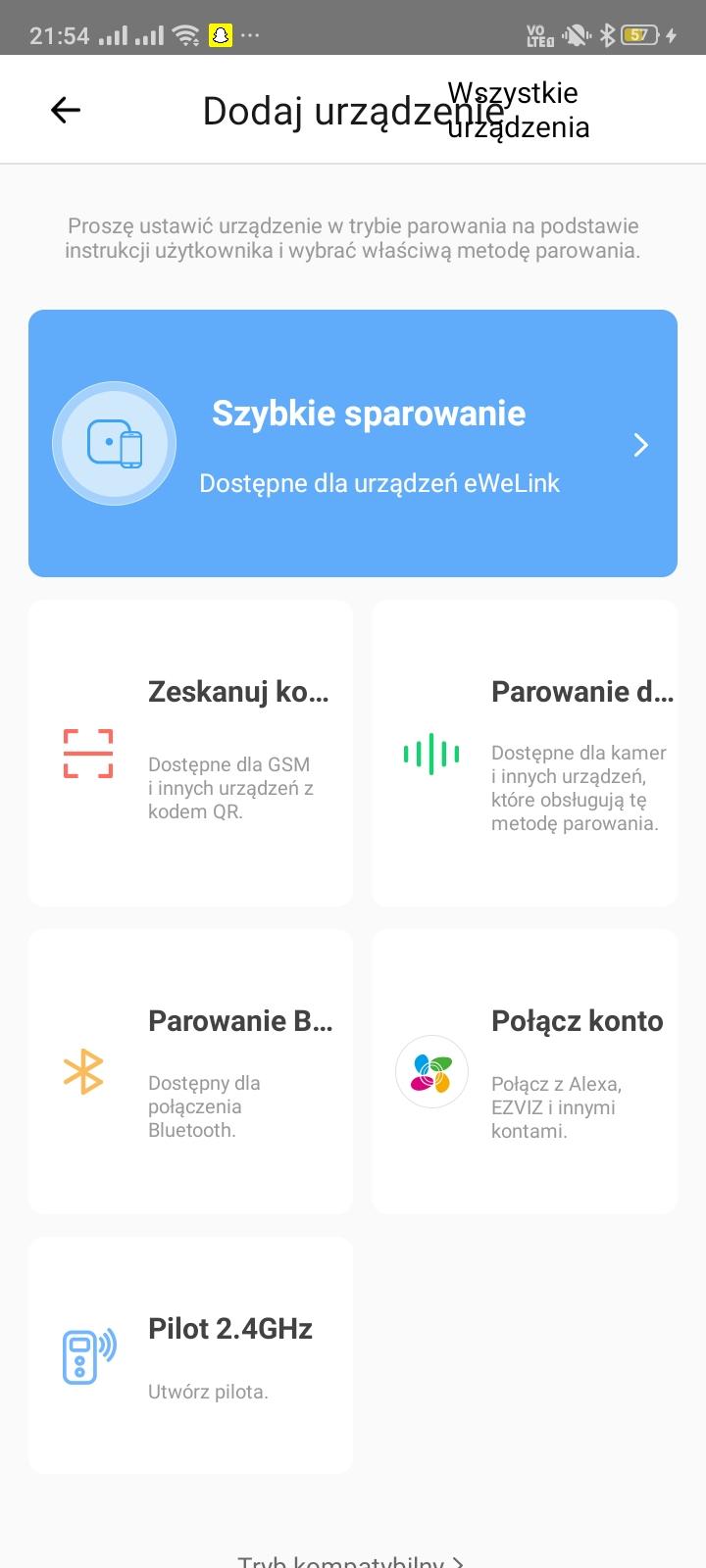 Aplikacja eWeLink podczas konfiguracji Sonoff Basic RF R3