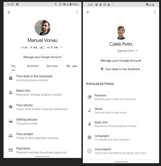 Asystent Google zmiany w ustawieniach