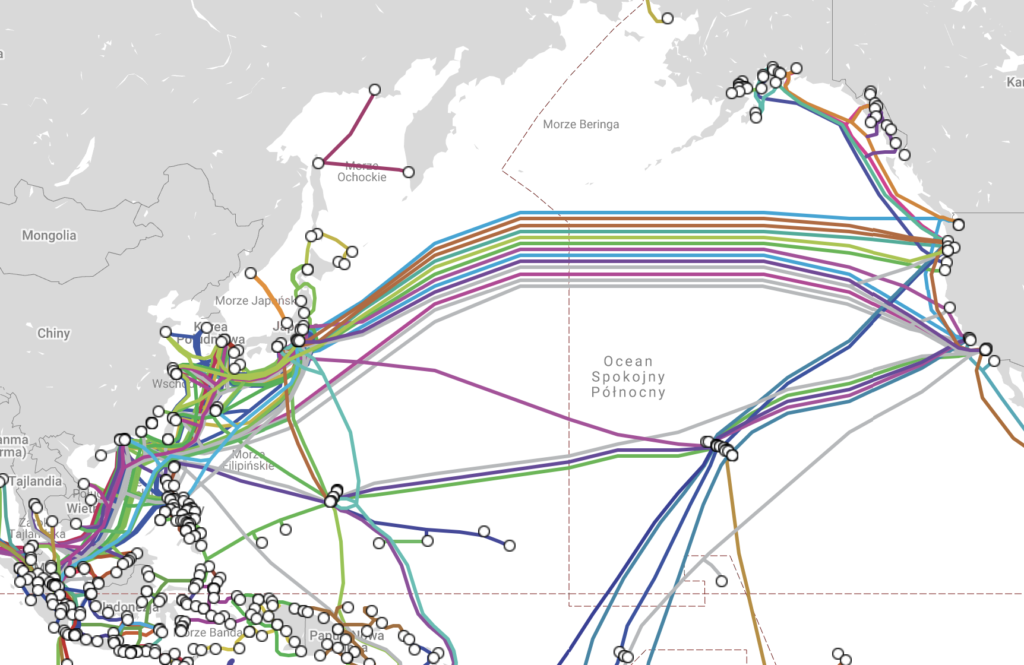 światłowód mapa połączeń USA - Azja