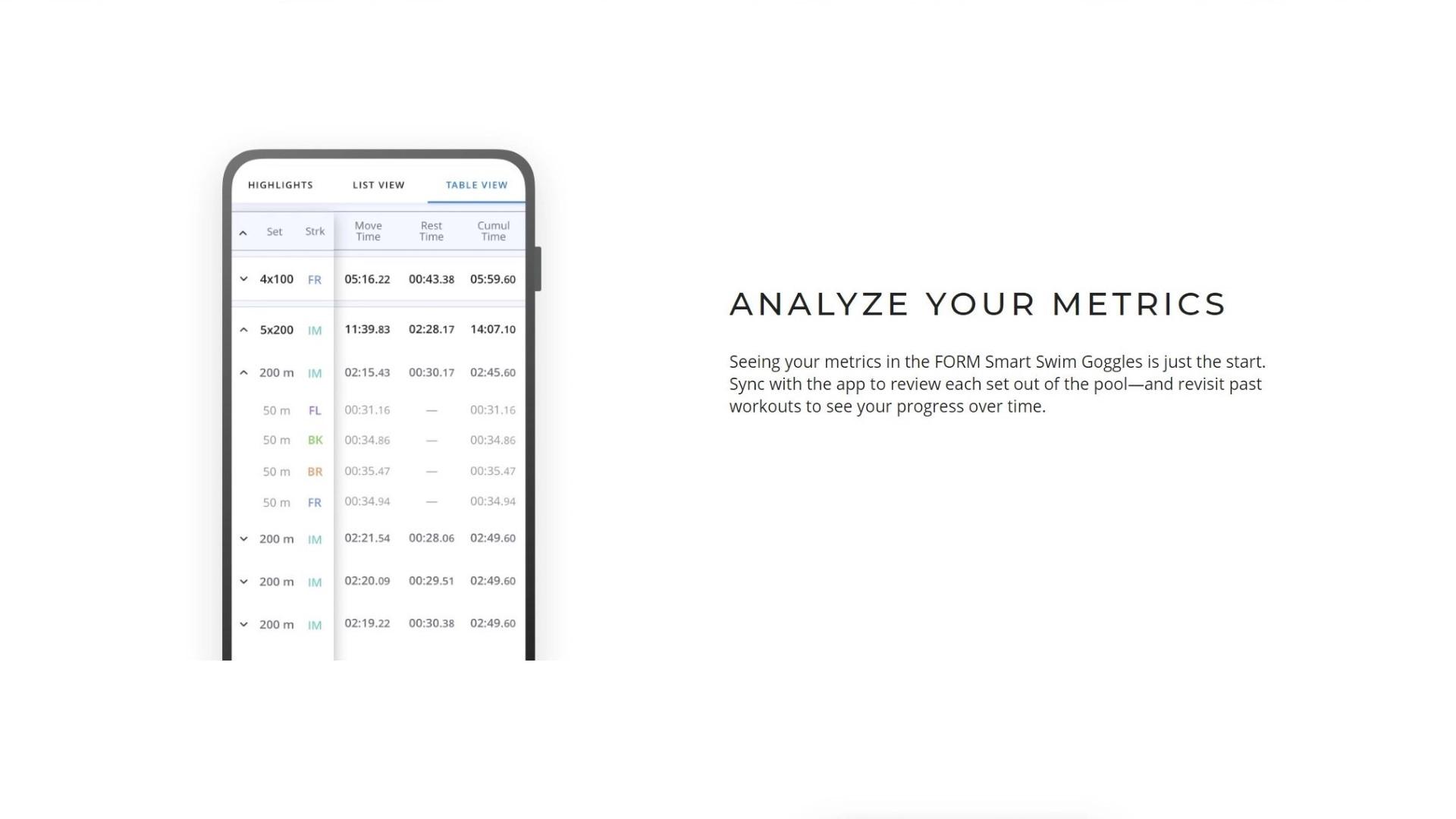 Aplikacja dedykowana Form Smart Swim Goggles daje sporo możliwości