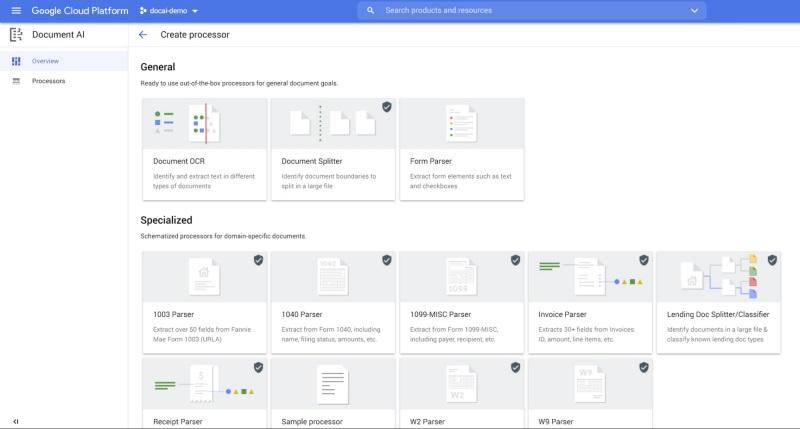 Dostępne parsery (analizatory) do wyboru w DocAI (fot. via VentureBeat)