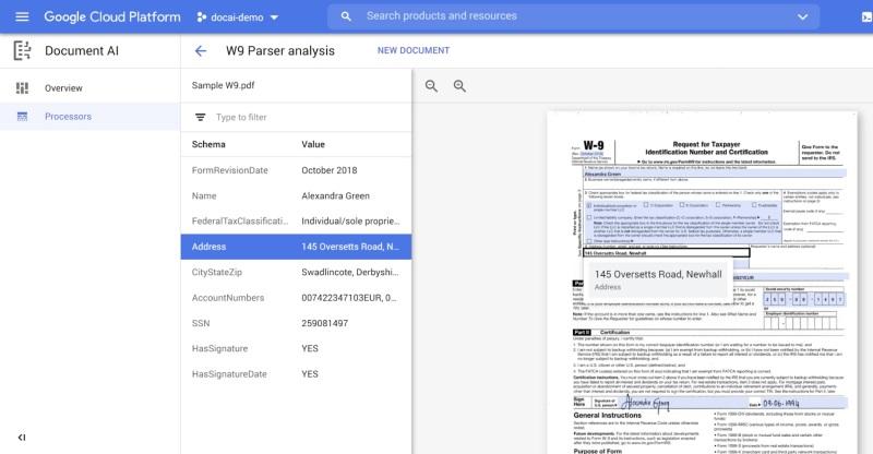 Wynik pracy analizatora formularzy w Document AI (fot. via VentureBeat)