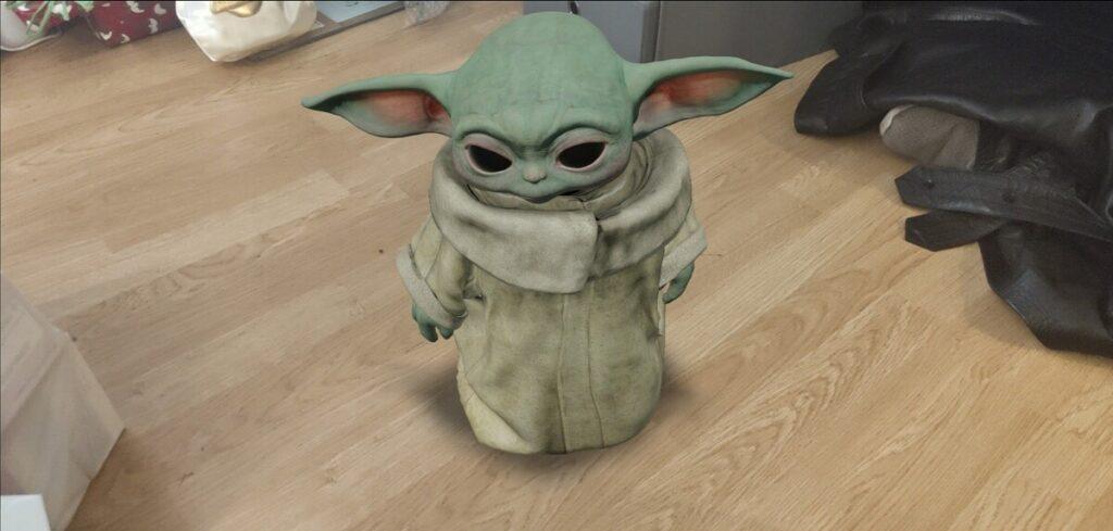Baby Yoda w wyszukiwaniach Google jako model Rozszerzonej Rzeczywistości