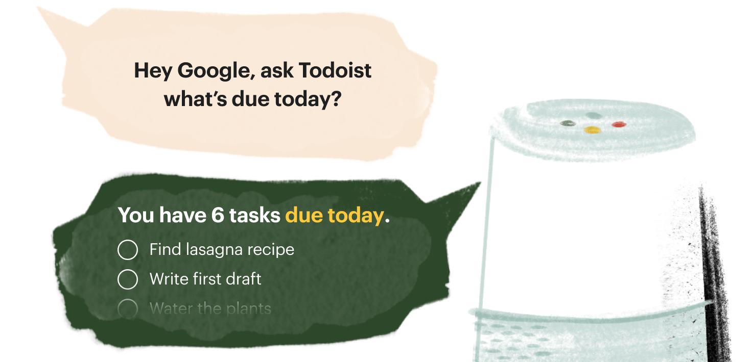 Przykład wykorzystania Asystenta Google do odczytania informacji z aplikacji Todoist (fot. Todoist)
