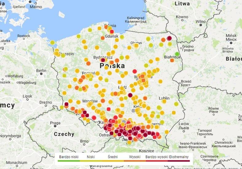 Mapa smogu fot. Airly via Onet.pl