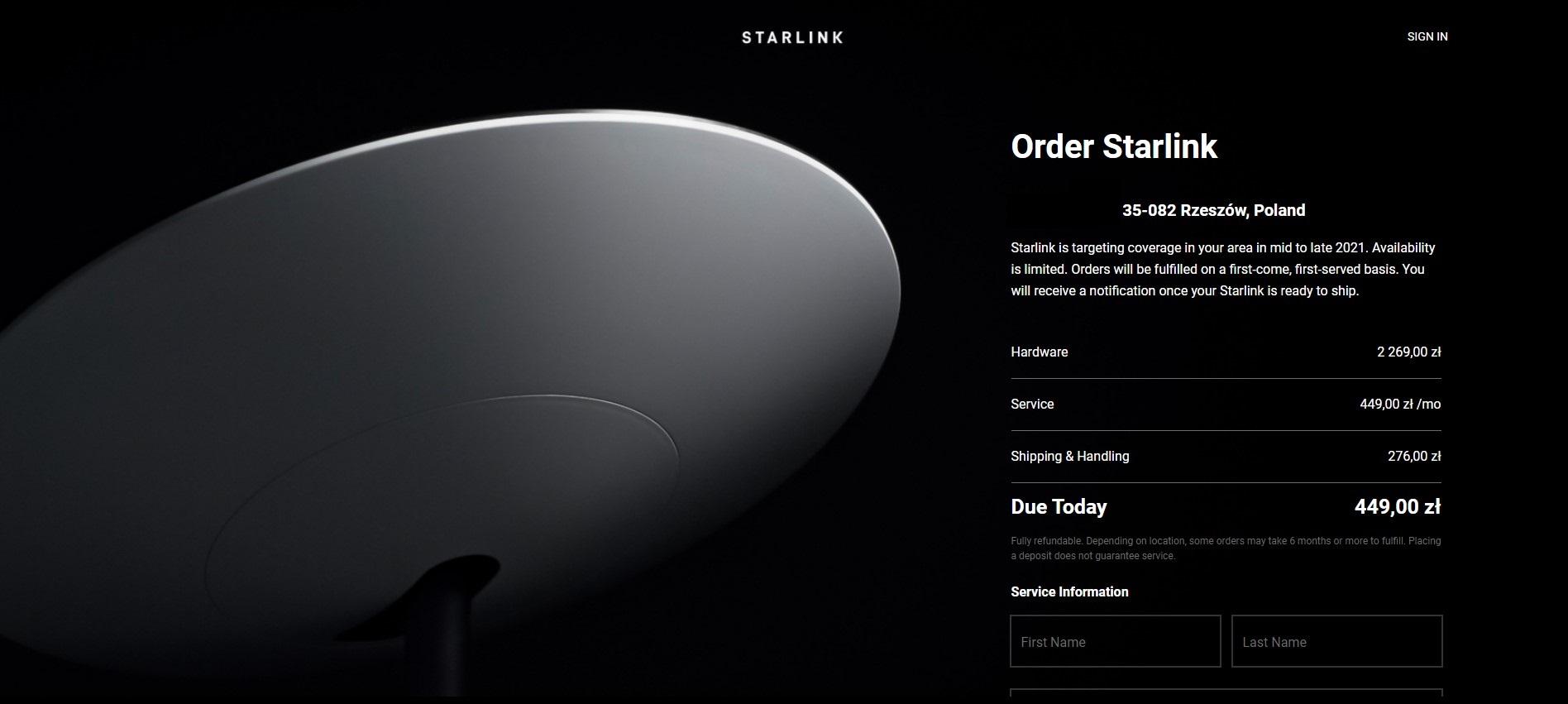 Starlink ceny fot. Starlink