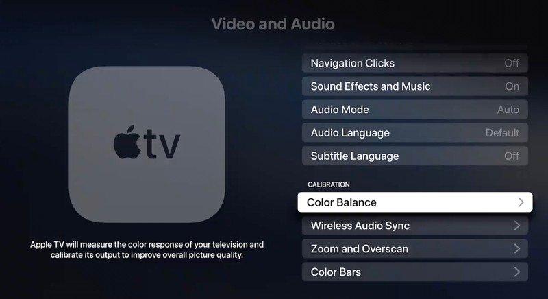 Apple TV kalibracja fot. via macrumors.com