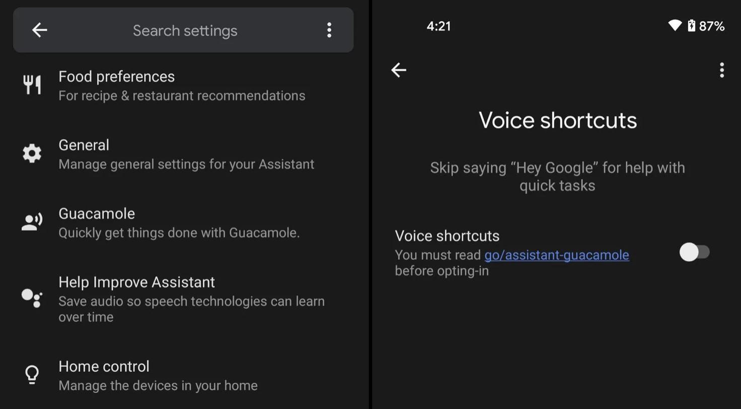Obrazek pokazuje dwa zrzuty ekranu, które prezentują gdzie można znaleźć funkcję Google Guacamole.