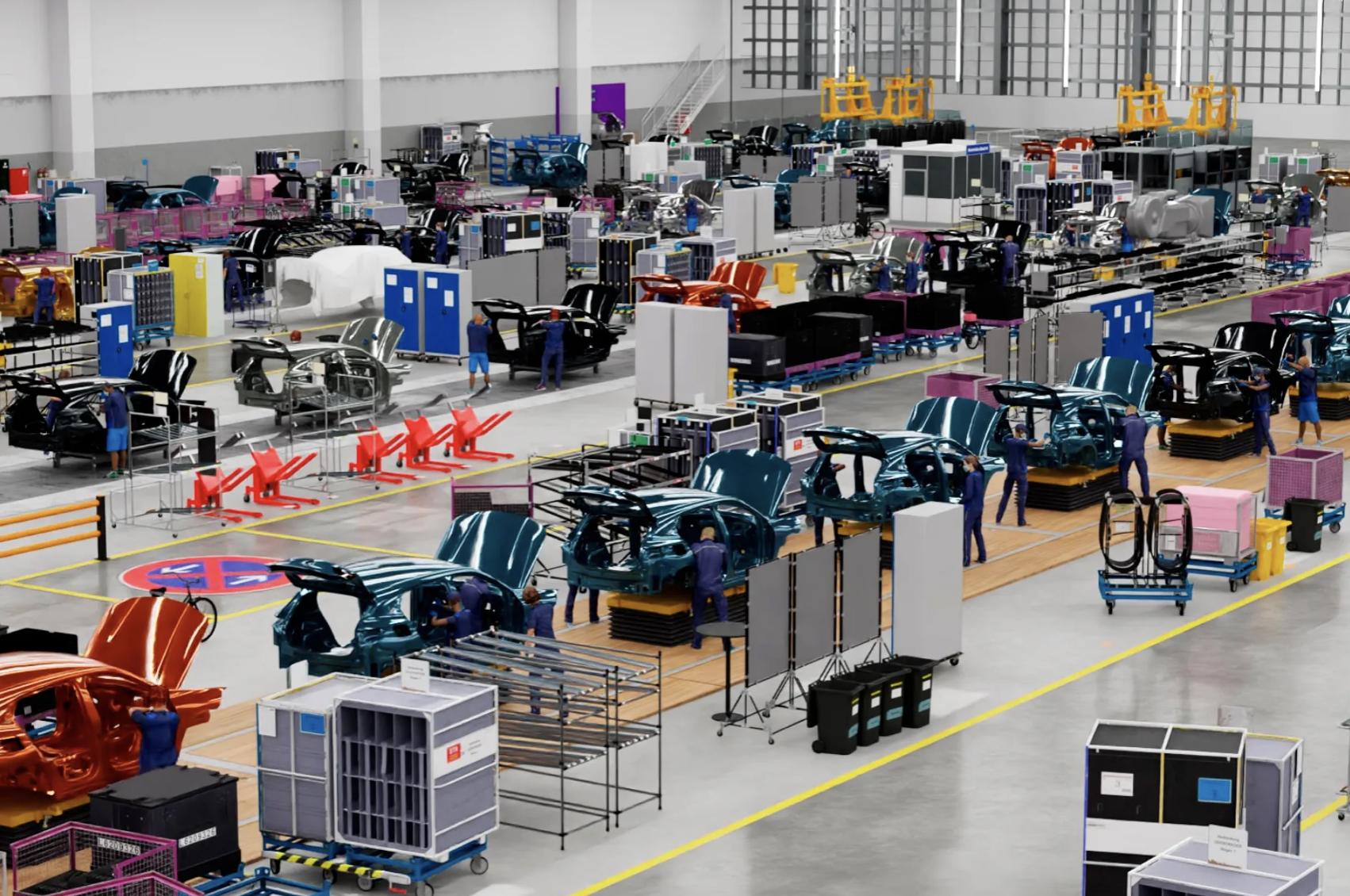 Obrazek pokazuje fabrykę w Regensburgu, gdzie Nvidia pomoże w automatyzacji linii montażowej.