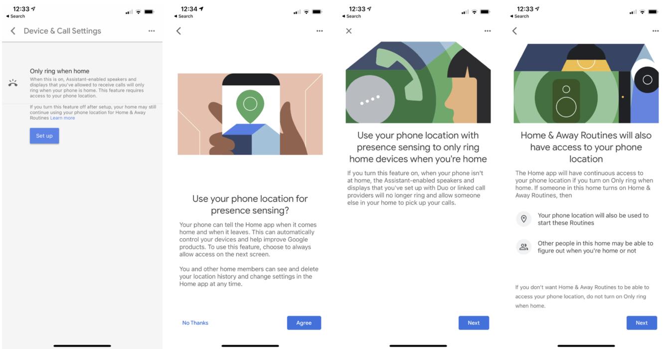 Obrazek przedstawia cztery zrzuty ekranu, które pokazują kolejne etapy ustawiania powiadomień w aplikacji Google Home.