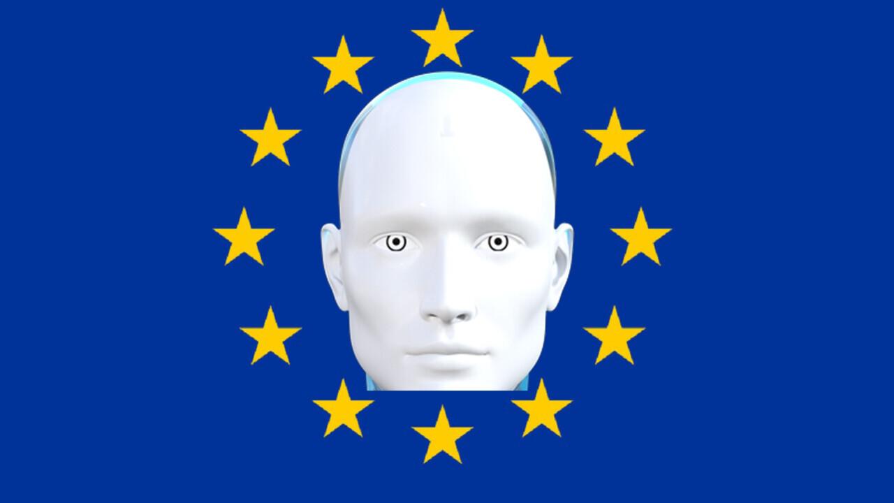 Obrazek przedstawia głowę robota symbolizującego AI na tle flagi Unii Europejskiej.