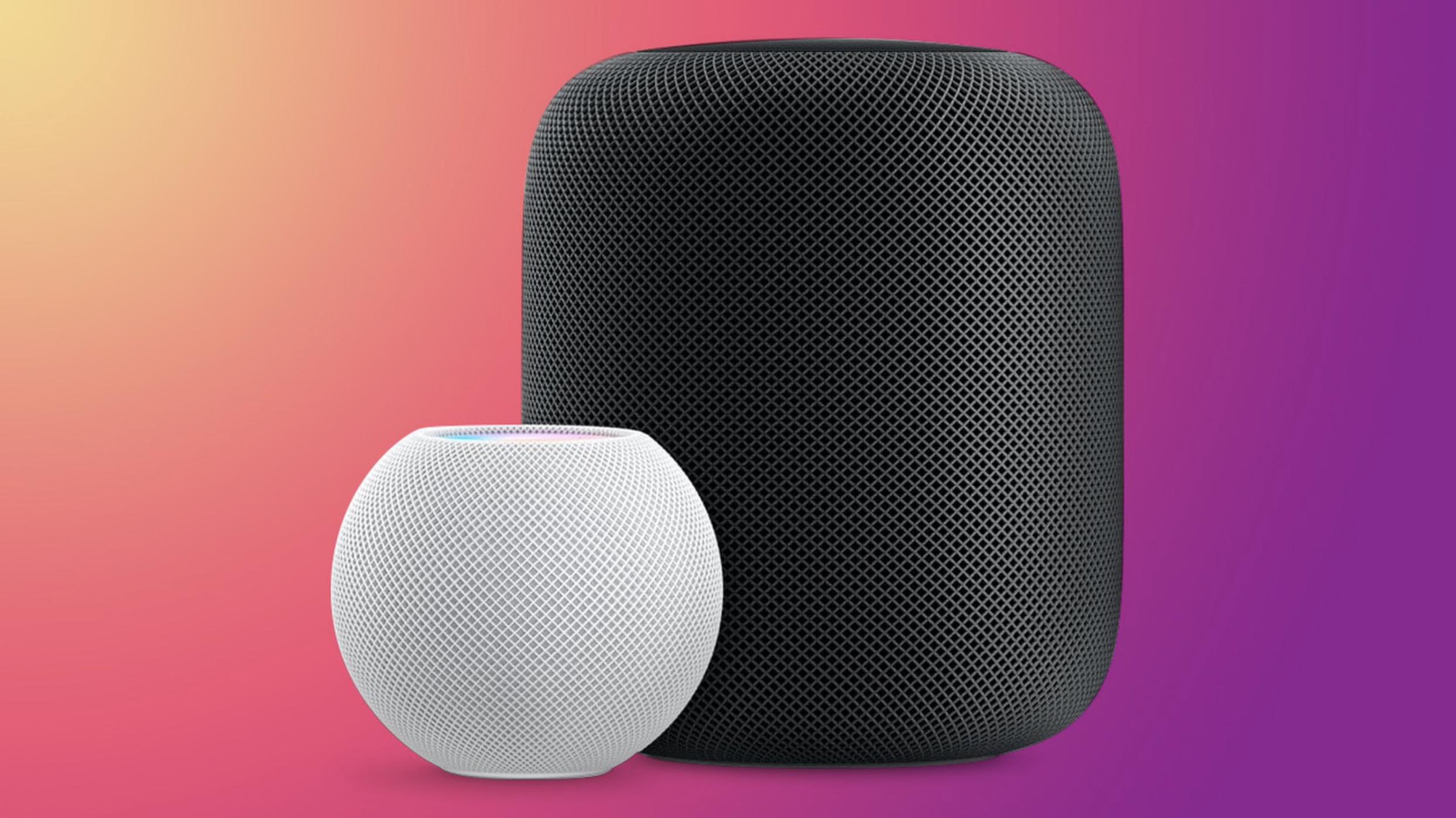 Obrazek przedstawia głośniki HomePod i HomePod Mini, które będą kompatybilne z funkcją Apple Music Lossless.