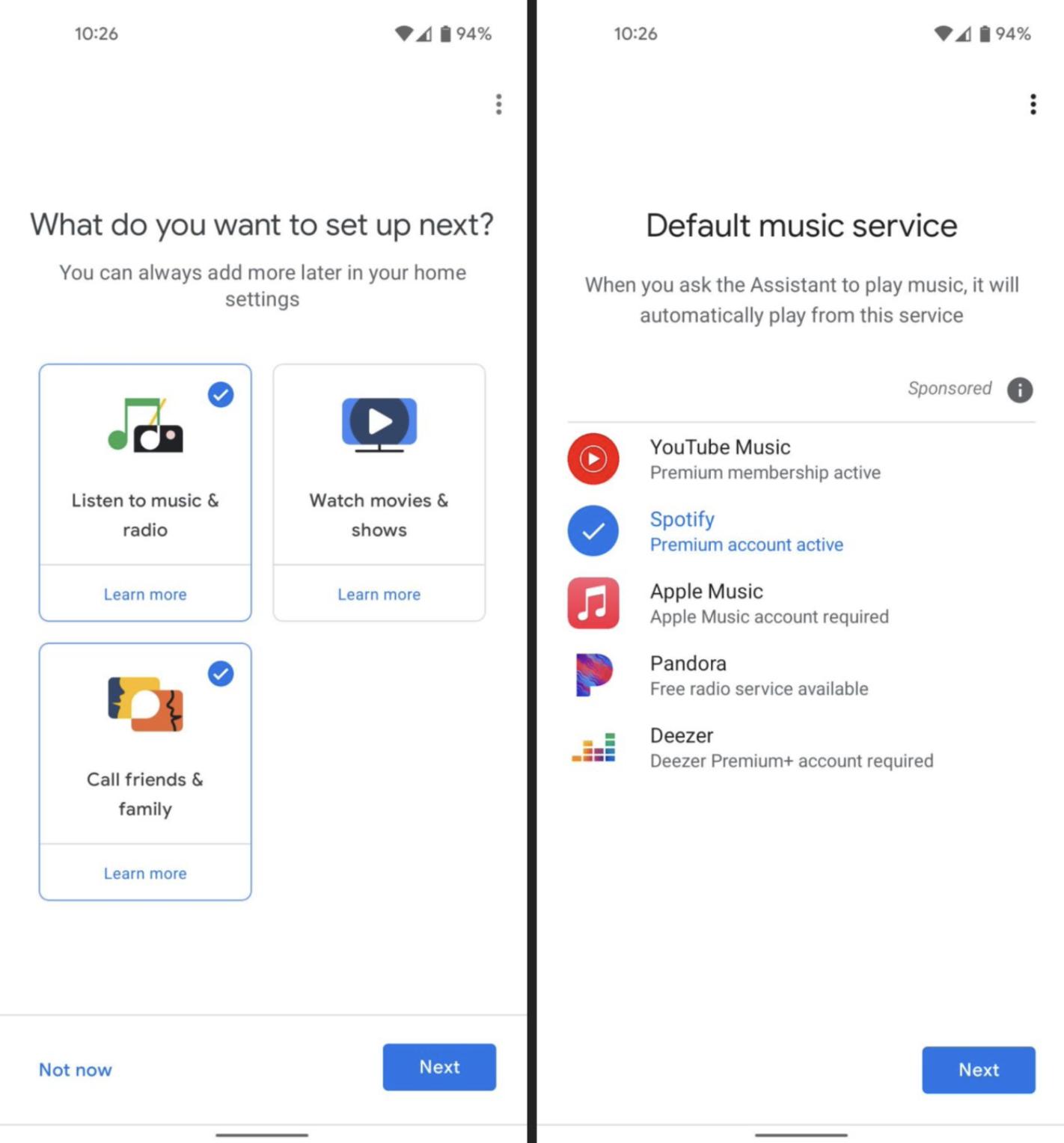 Obrazek przedstawia zrzuty ekranu, które pokazują jak wygląda nowa funkcja Google Home. Spotify zostało zapamiętane jako domyślny serwis muzyczny.