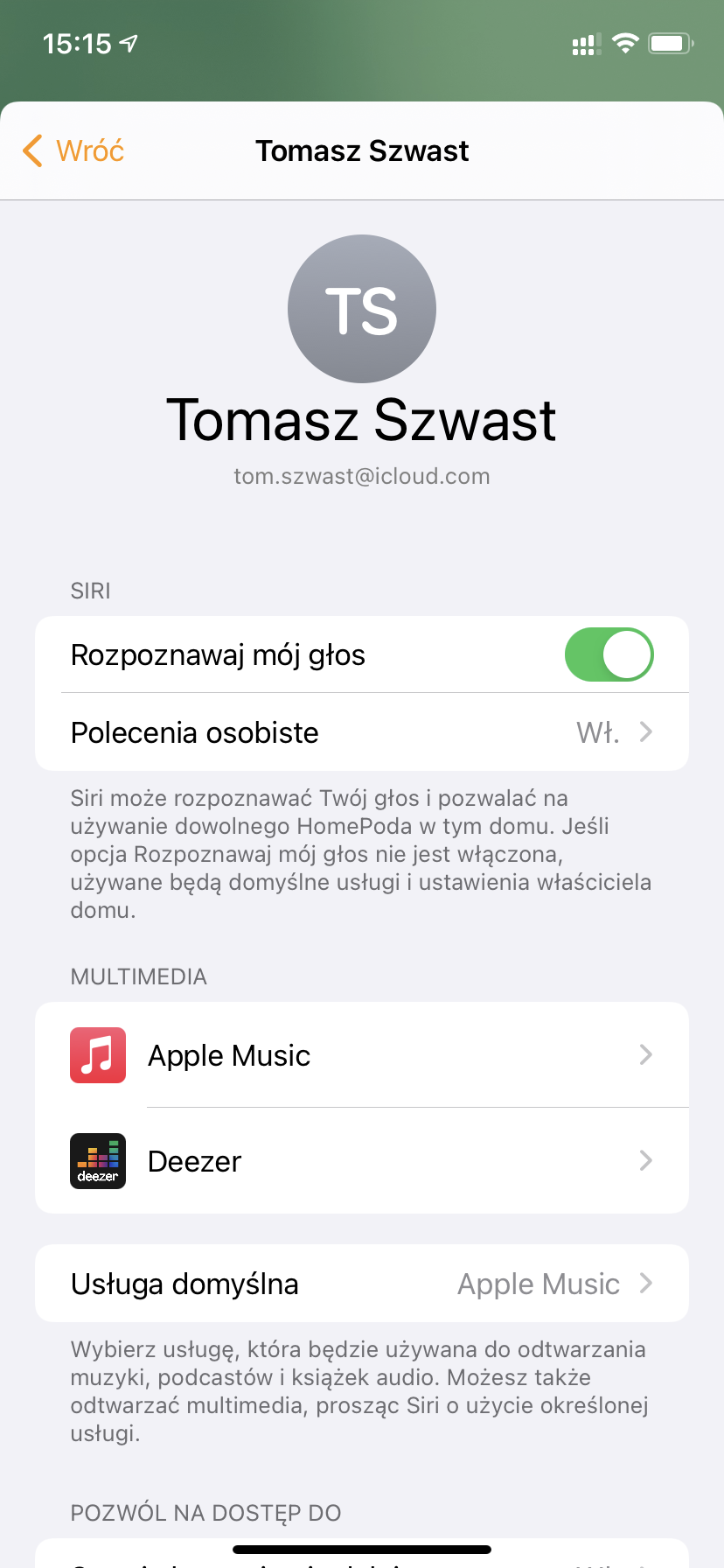 HomePod zmiana domyślnego dostawcy muzyki