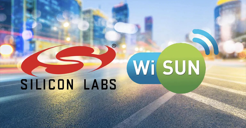 Obrazek przedstawia logo Silicon Labs i Wi-SUN.