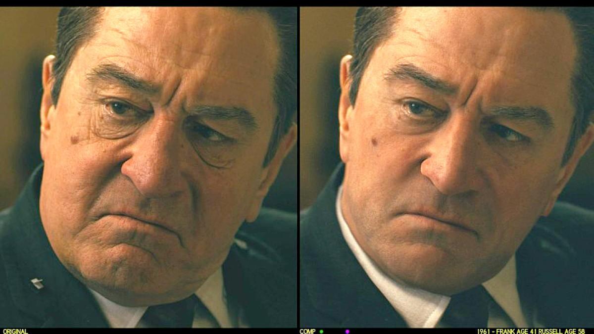 Obrazek przedstawia sytuację gdzie AI zostało wykorzystane do odmłodzenia aktora - Roberta De Niro.