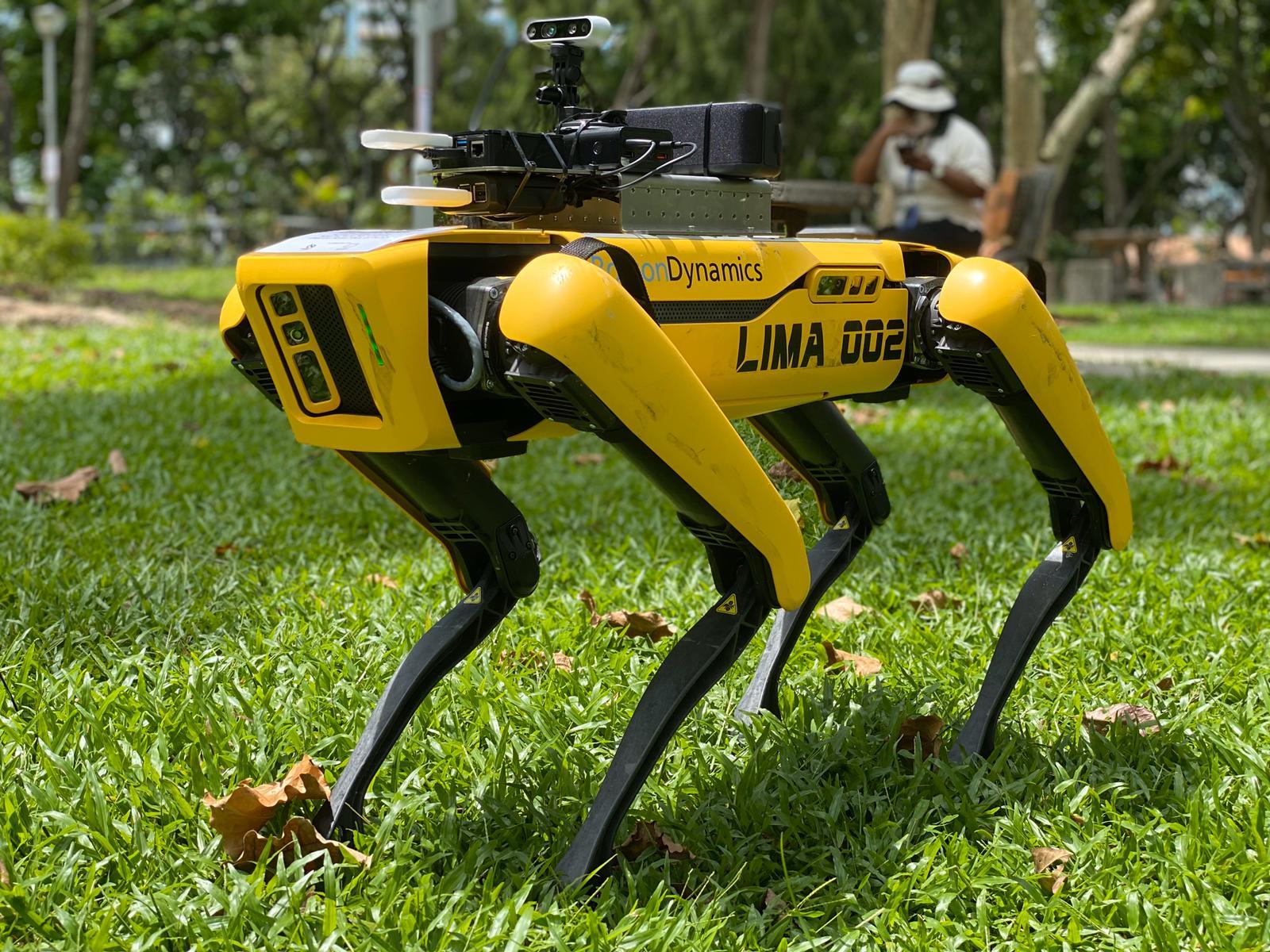 Obrazek przedstawia Spota, robota firmy Boston Dynamics.
