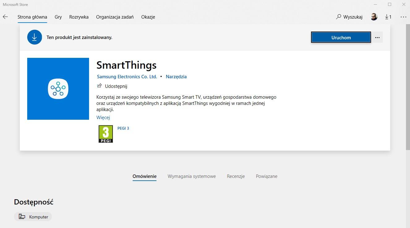 SmartThings dla Windows fot. Microsoft