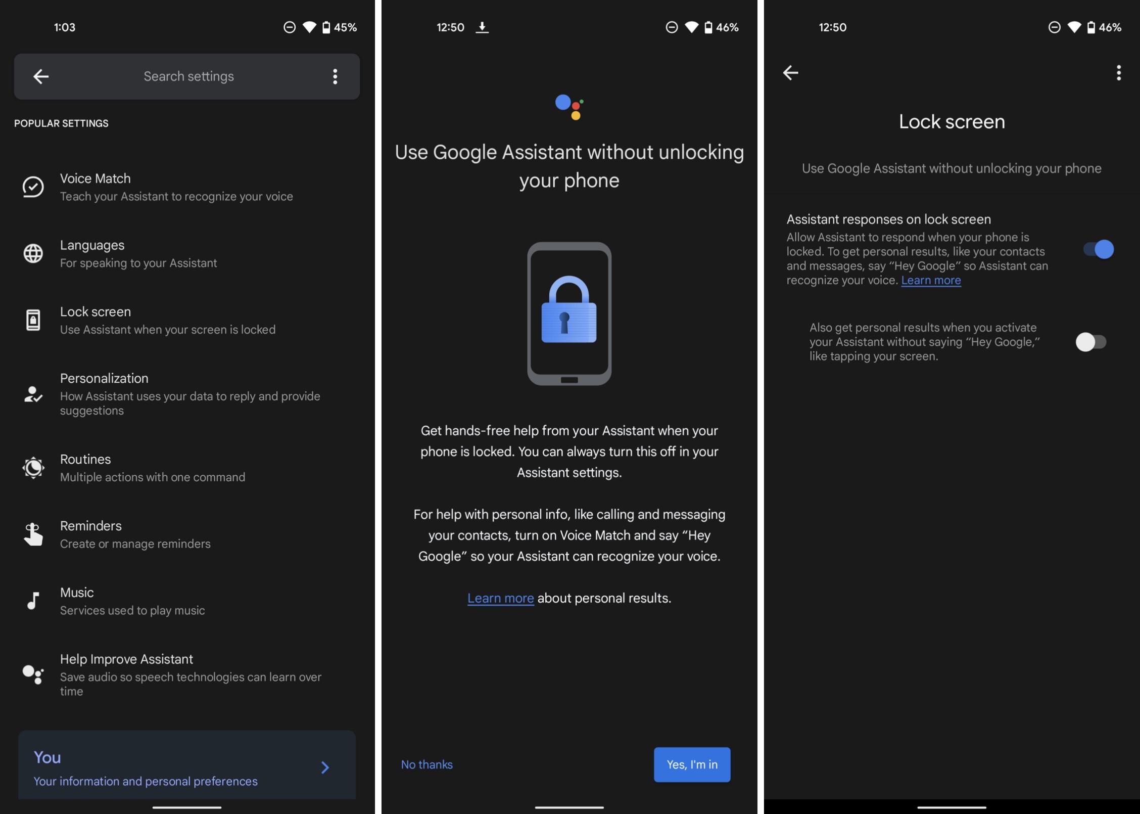 Obrazek przedstawia nowe ustawienie w aplikacji Asystent Google na systemie Android.