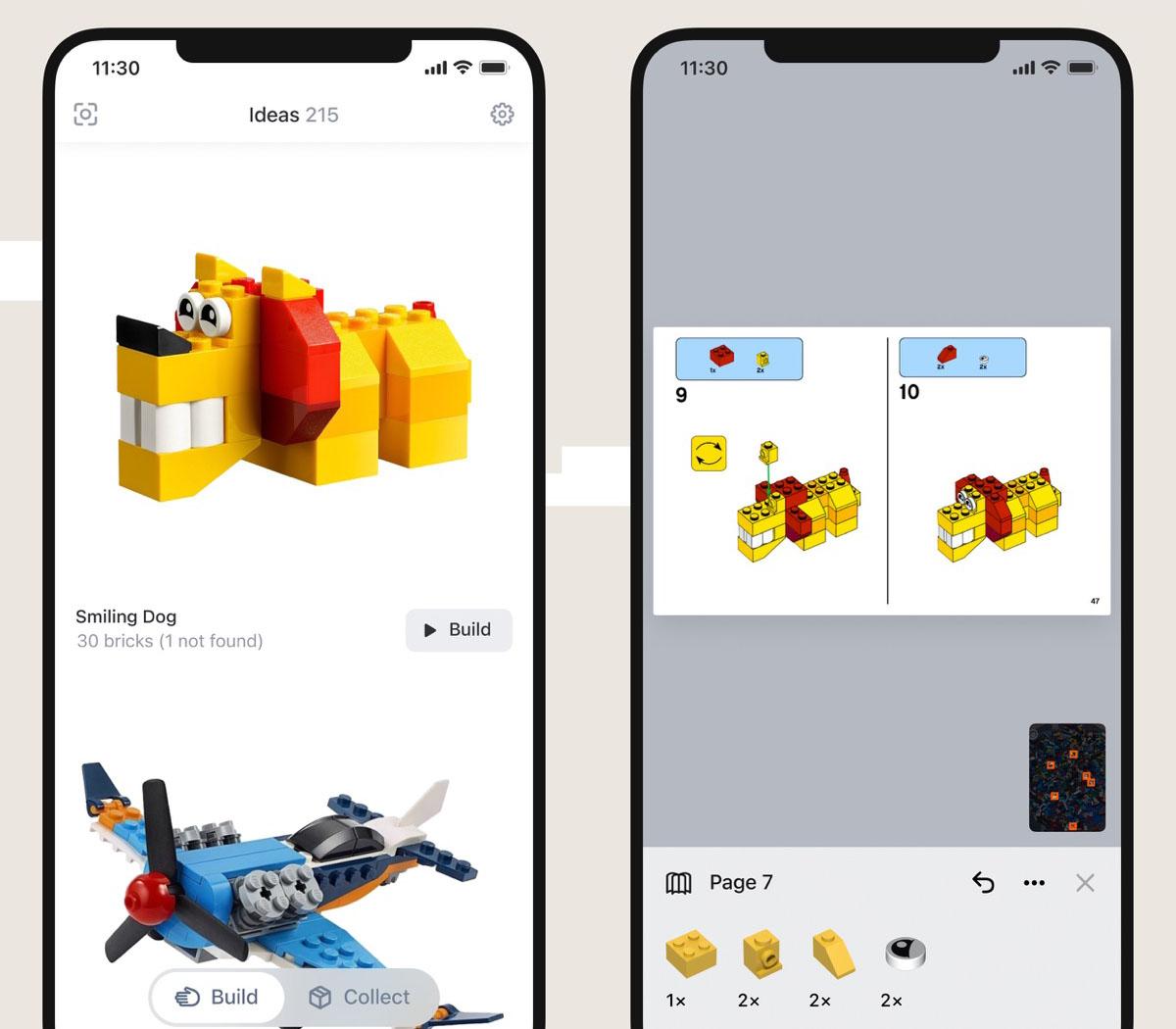 Obrazek przedstawia propozycje zabawek do zbudowania, które stworzyła aplikacja Brickit oraz fragment instrukcji jak zbudować jedną z nich.