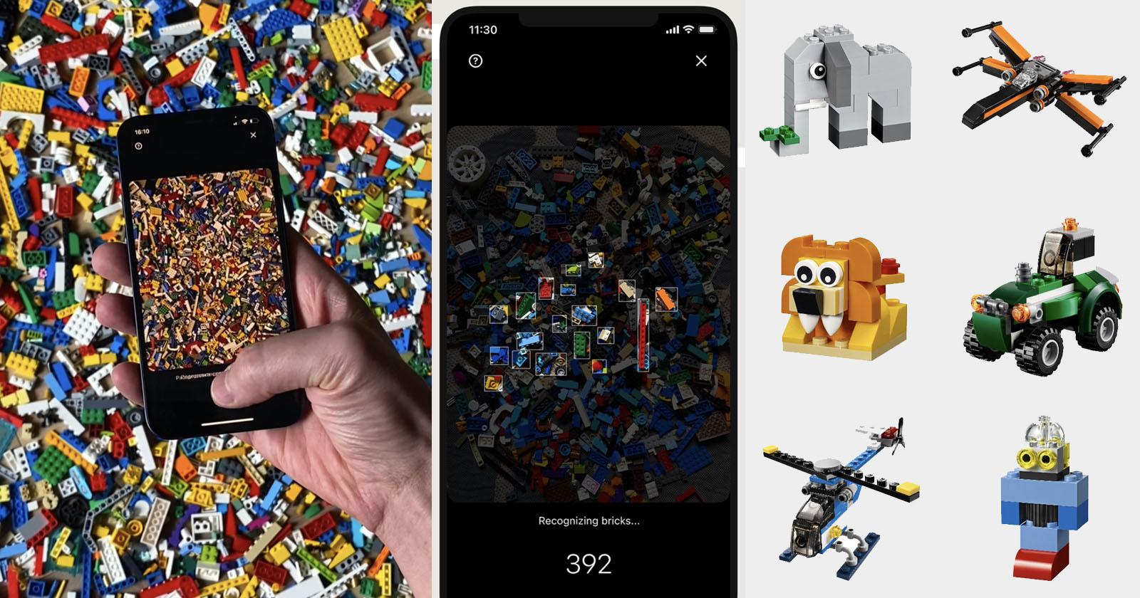 Obrazek przedstawia zrzuty ekranu z aplikacji Brickit.