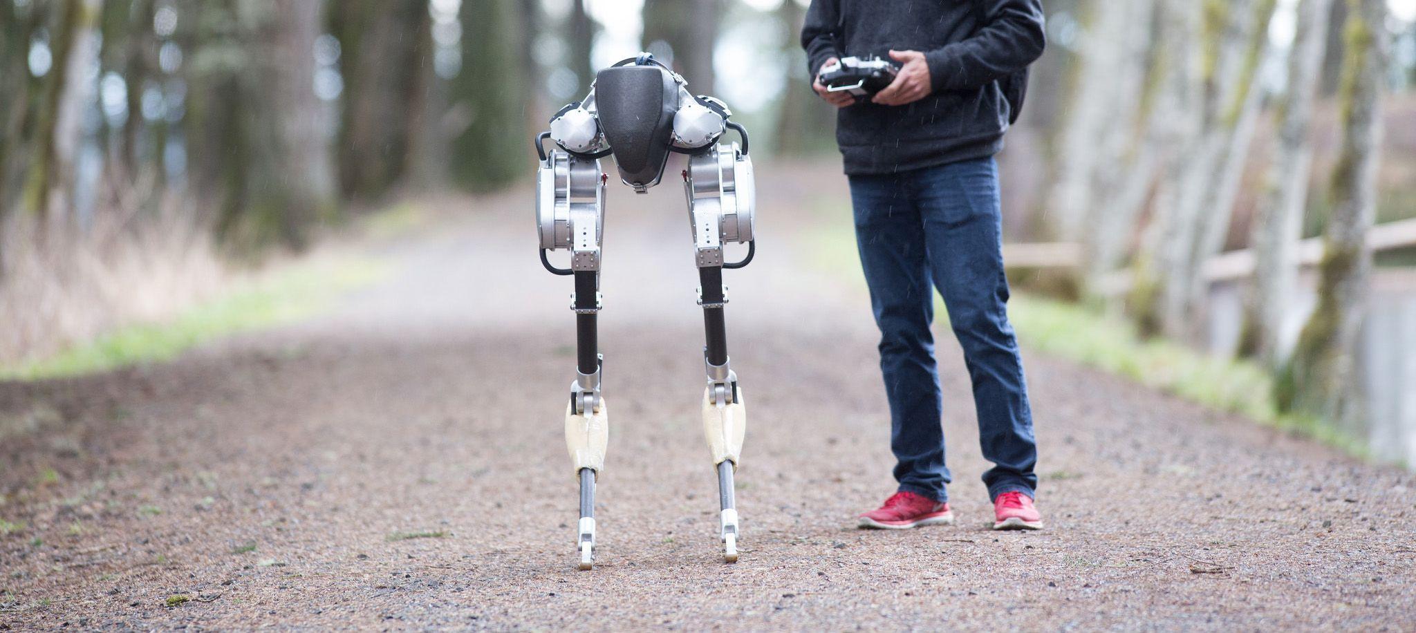 Obrazek przedstawia robota Cassie autorstwa firmy Agility Robotics.