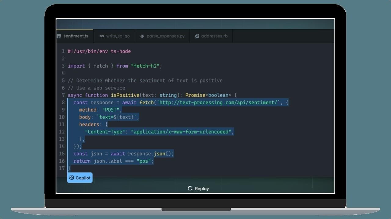 Obrazek przedstawia jak działa narzędzie GitHub Copilot.